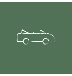 Convertible car icon drawn in chalk vector