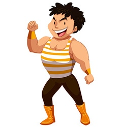 Strong man showing off muscles vector