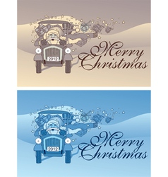 Vintage christmas flyer vector