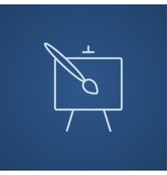 Easel and paint brush line icon vector