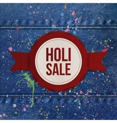 Holi sale round banner with red ribbon vector
