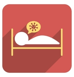 Infected patient bed flat rounded square icon with vector