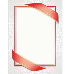 white background with red ribbons vector image