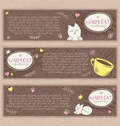 Hand drawn set of banners with cute cat and cup of vector