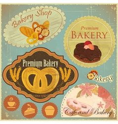 Set of vintage bakery and cafe labels vector