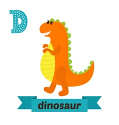 Dinosaur d letter cute children animal alphabet in vector