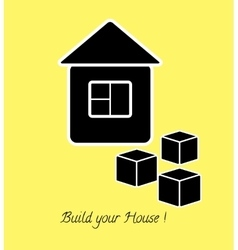 A simple black and white house and three blocks vector
