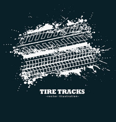Abstract grunge tire tracks marks on dark vector