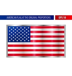 American flag in a metallic silver frame vector