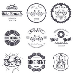 Bike rent set of vintage modern and retro logo vector