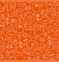 cartoon doodles hand drawn style seamless pattern vector image vector image