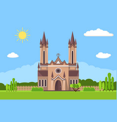Church icon flat summer landscape vector