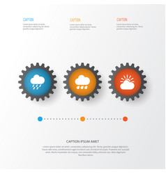 Climate icons set collection of sun-cloud douche vector