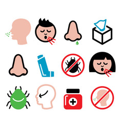 Cold flu icons - nasal infection allergy nose vector