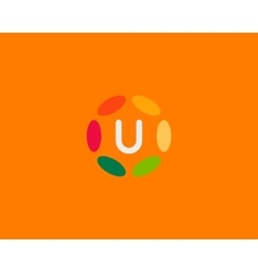 Color letter u logo icon design hub frame vector