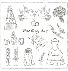 Doodle wedding set for invitation cards including vector image