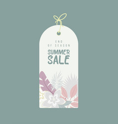 end of season summer sale background with flowers vector image vector image