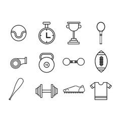 flat thin line sport icons set vector image