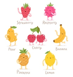 Funny cartoon fruits collection vector