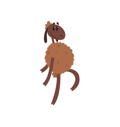 Funny sheep character walking on two legs cartoon vector