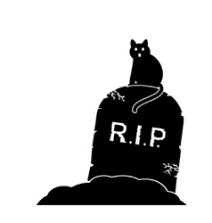 Gravestone and black cat vector