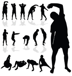 Gymnastic man black silhouette vector