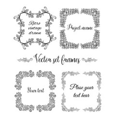 Hand drawn flourish square frames collection vector