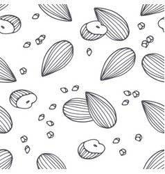Hand drawn outline seamless pattern with almond vector