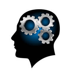 humans brain with gearwheel inside on white vector image vector image