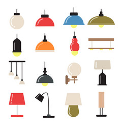 interior decoration with modern lamps and vector image
