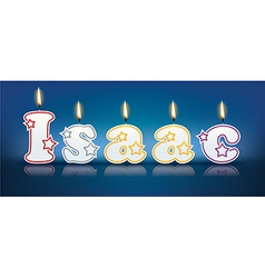 Isaac written with burning candles vector