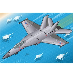 Isometric fighter bomber in flight in front view vector
