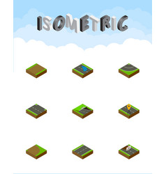 Isometric road set of rightward underground vector