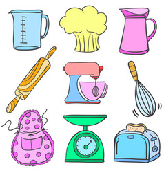 Kitchen equipment colorful doodle style vector