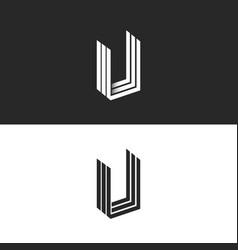 letter u logo isometric geometric shape vector image vector image
