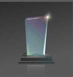 Realistic blank glass trophy winner award vector