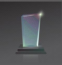 Realistic blank glass Trophy winner Award vector image vector image