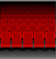 Realistic cinema hall red seats movie theater vector