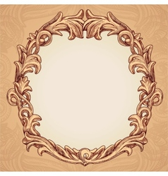 Round frame in vintage style vector