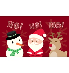 Santa claus snowman reindeer christmas cartoon vector