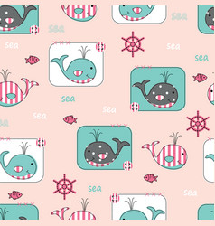 Seamless pattern with cute whales and fish vector