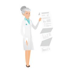 Senior doctor in medical gown giving presentation vector