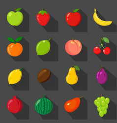 set of flat icons fresh natural fruits black vector image vector image