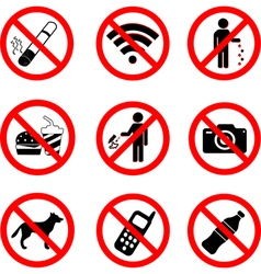 Set of prohibition sign symbols vector image vector image