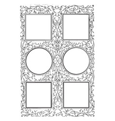 Six-part frame have four square and two circle in vector