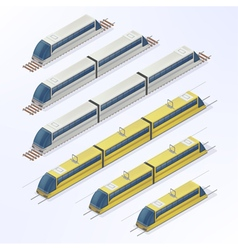 Trains and Trams Isometric Set vector image