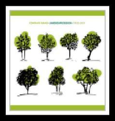 Tree set and logo vector image vector image