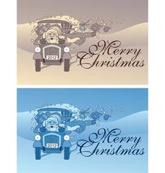vintage christmas flyer vector image