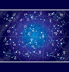 XII Constellations of Zodiac Blueprint version vector image