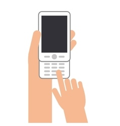 Hands with cellphone with buttons icon vector